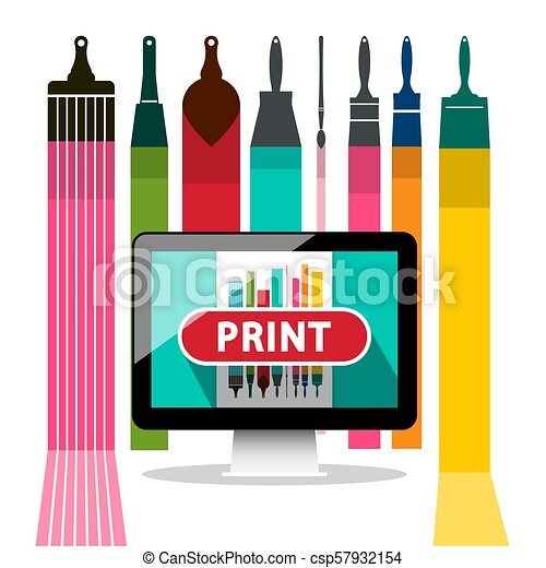 Print Button on Screen with Colorful Brushes on Background - csp57932154