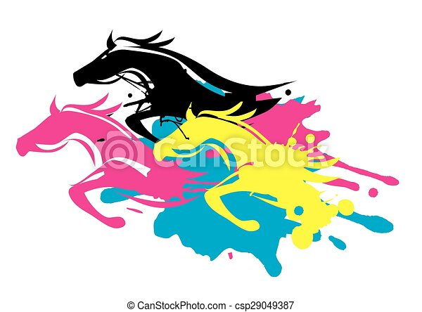 Print colors as running horses. Three running horses as splatters in ...