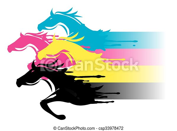 Print colors horses. Four running horses in the colors of the cmyk ...