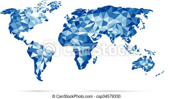 Print vectors world map polygonal precision low poly blue vectors print csp34579330 gumiabroncs Image collections