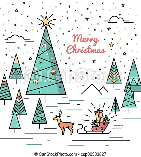 print for christmas decorations christmas forest postcard with a
