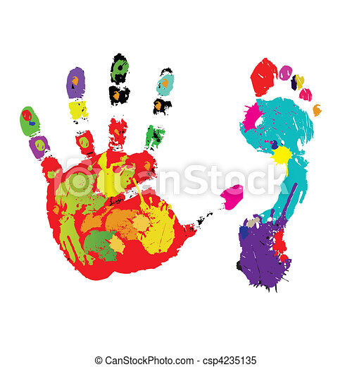 Print of a foot and palm. Vector - csp4235135