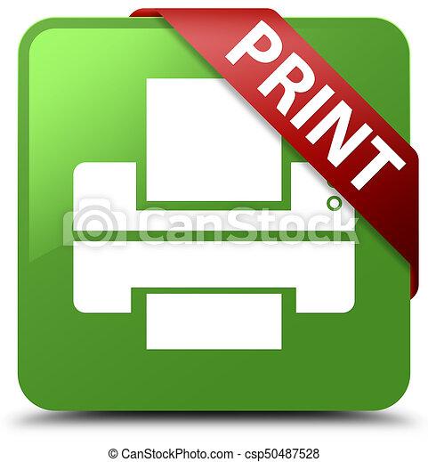 Print (printer icon) soft green square button red ribbon in corner - csp50487528