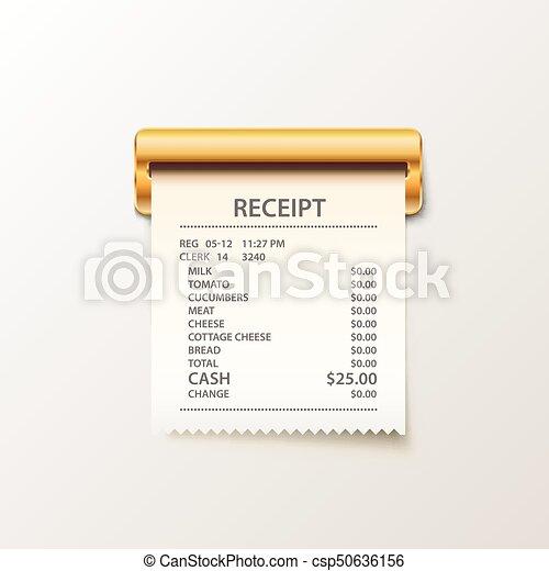 Print receipt cash on white background. - csp50636156