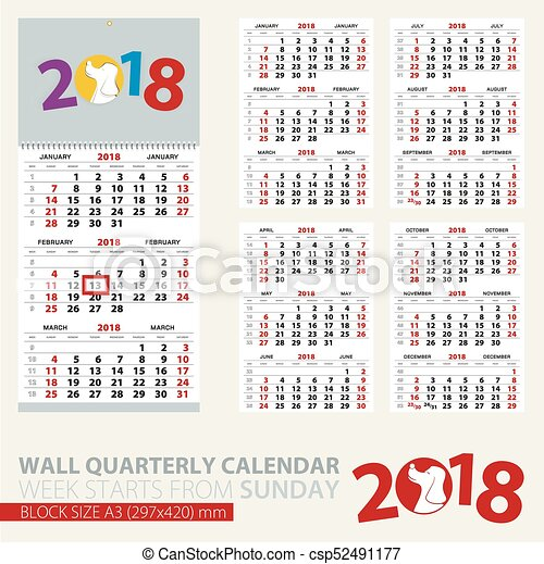 Print Template Of Wall Quarterly Calendar For 2018 Year Year Of The