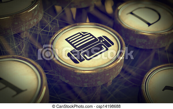 Print Typewriter Key. Grunge Background. - csp14198688