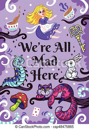 the Caterpillar Prints The White Rabbit and Absolem Alice in Wonderland Art
