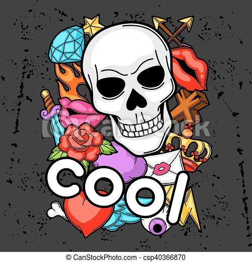 Print With Retro Tattoo Symbols Cartoon Old School Vectors