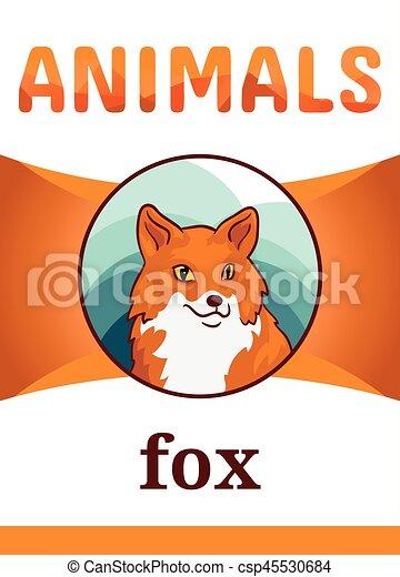 printable animal flash card vector illustration suitable for