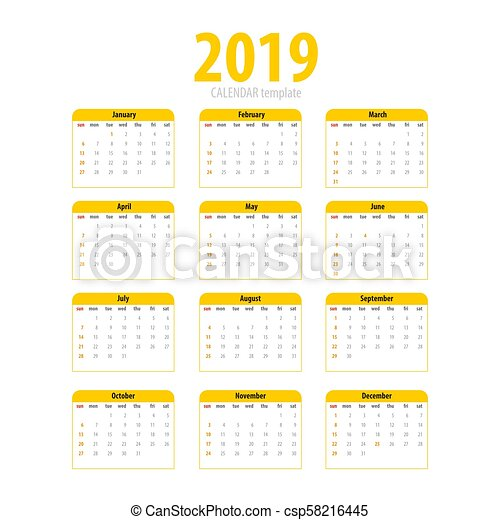 printable calendar 2019 simple template yellow pig colors eastern new year year month week day business planner schedule modern number grid isolated