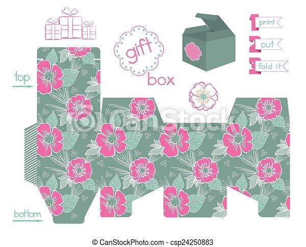image about Poppies Printable identified as Printable Present Box Poppies Practice