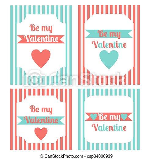 Printable Set Of Saint Valentine Party Elements Happy Valentines Day Set