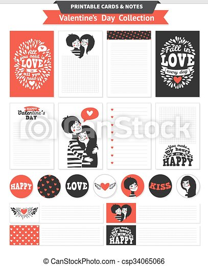 photo about Valentine Stickers Printable known as Printable fixed with pair in just appreciate and lettering.