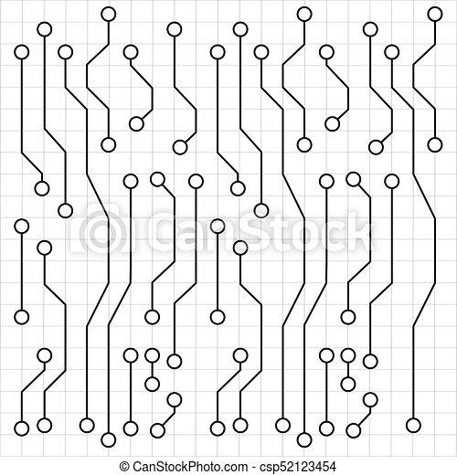 Printed circuit board. Electronic circuit board drawing, vector art ...