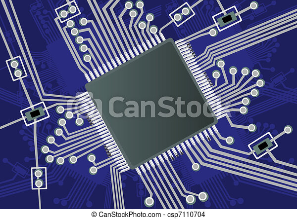 Printed circuit board. Vector illustration of a fictive printed ...