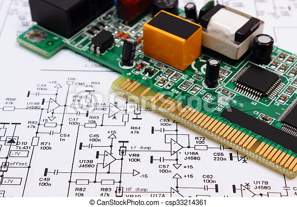 printed circuit board lying on diagram of electronics technology rh canstockphoto com