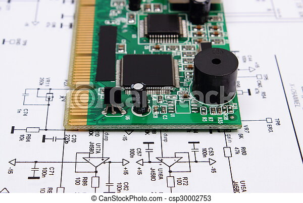 printed circuit board lying on diagram of electronics technology rh canstockphoto ca
