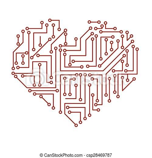 Printed Electrical Circuit Board Heart Symbol Eps10 Vector