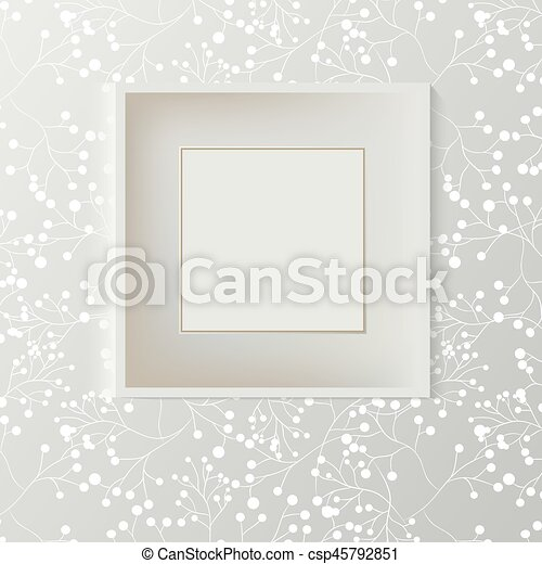 Printed grey wallpaper with empty frame for copyspace on wall, elegant fresh interior room mockup