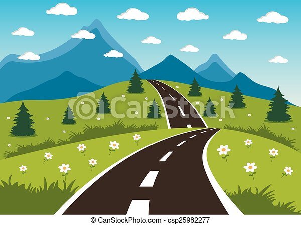 Dessin De Route printemps, été, ou, route, montagne. Été, montagnes, printemps