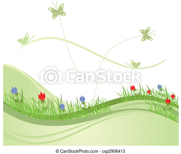 printemps, 2, champ vert - csp2906413