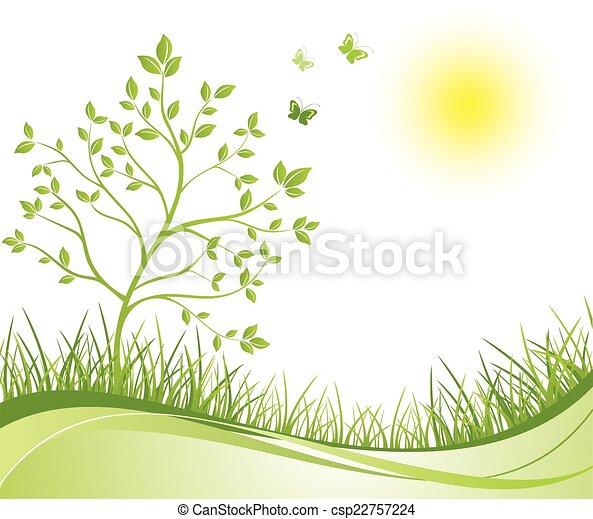 printemps, arrière-plan vert - csp22757224