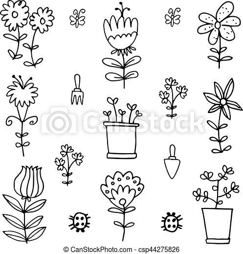 Printemps Dessiner Fleur Griffonnage Main