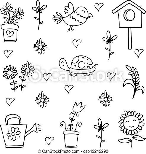 Printemps Dessiner Main Doodles Dessiner Printemps Illustration Main Vecteur Doodles Canstock