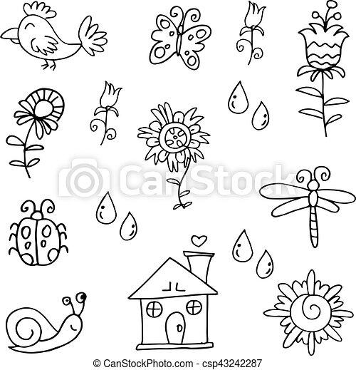 Printemps Dessiner Objet Main Doodles Dessiner Printemps Objet Illustration Main Vecteur Doodles Canstock