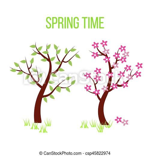 Printemps feuilles arbre temps fleurs composition illustration vecteurs rechercher - Arbre fleurs rouges printemps ...