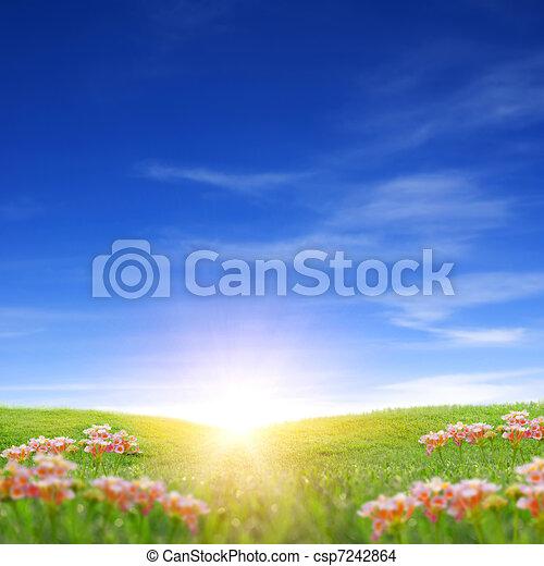 printemps, levers de soleil - csp7242864