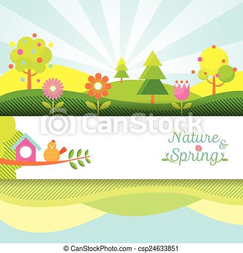 printemps, objet, bannière, saison, icônes - csp24633851