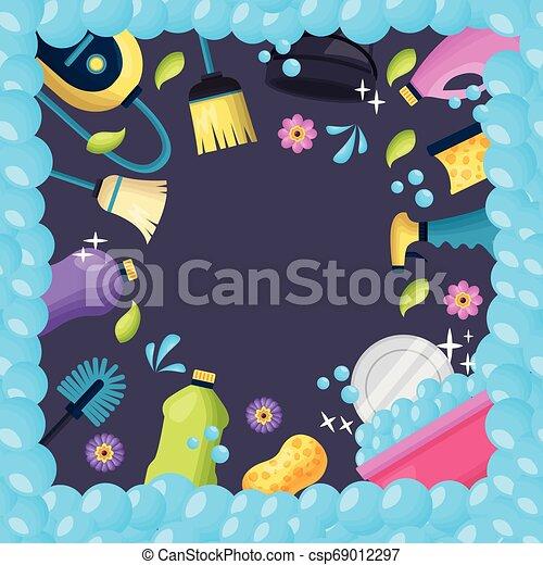 printemps, outils, nettoyage - csp69012297