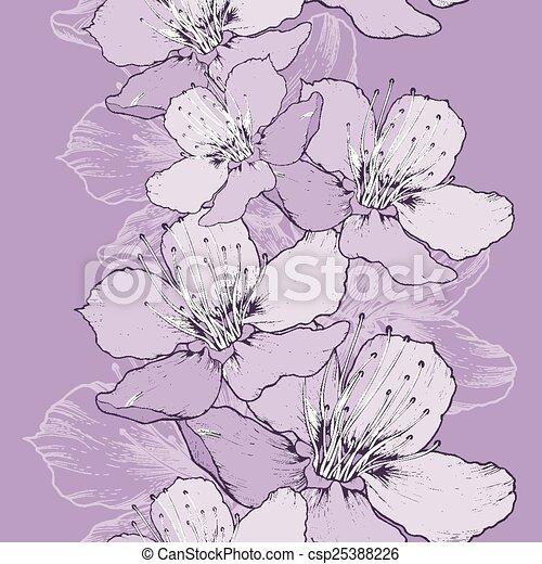 printemps, pomme, seamless, fond, hand-drawing., fleurs - csp25388226