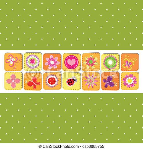 printemps, résumé, fleur, carte voeux - csp8885755