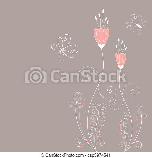 printemps, résumé, fleurs, carte voeux - csp5974541
