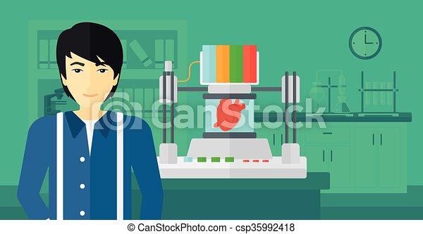 printer., ember, átmérő, három - csp35992418