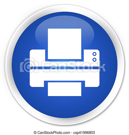 Printer icon blue glossy round button - csp41996803