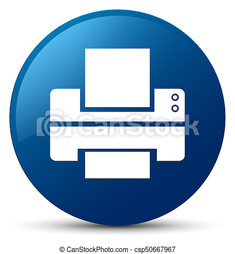 Printer icon blue round button - csp50667967
