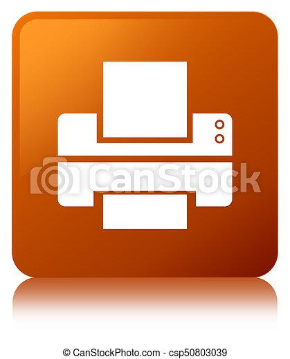 Printer icon brown square button - csp50803039