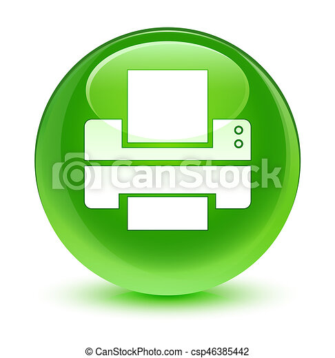 Printer icon glassy green round button - csp46385442