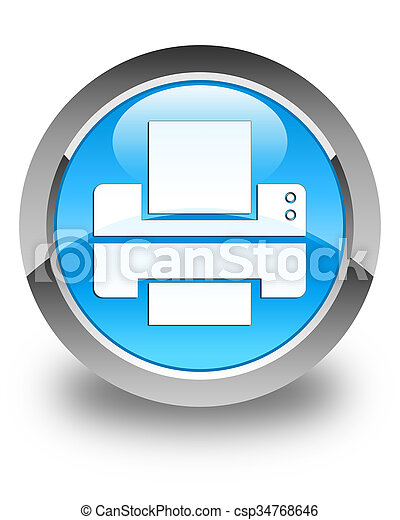 Printer icon glossy cyan blue round button - csp34768646