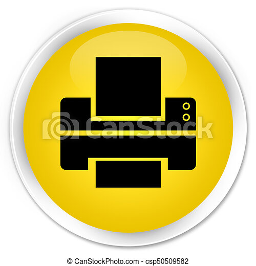 Printer icon premium yellow round button - csp50509582