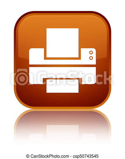 Printer icon special brown square button - csp50743545
