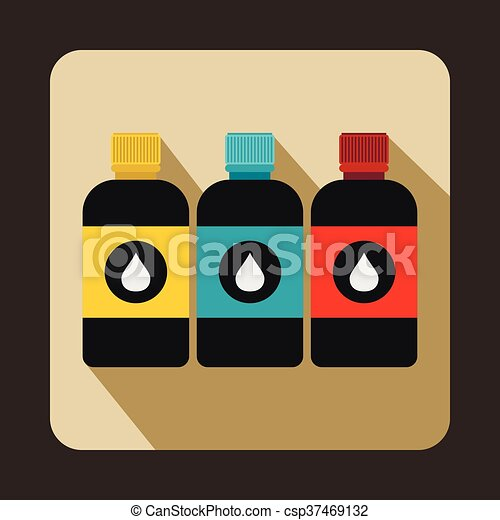 Printer ink bottles icon, flat style - csp37469132