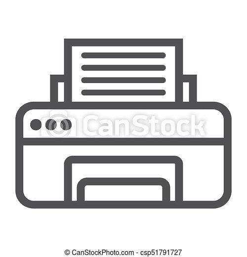printer line icon fax and office vector graphics a linear rh canstockphoto com fox clipart black and white fox clip art free printable