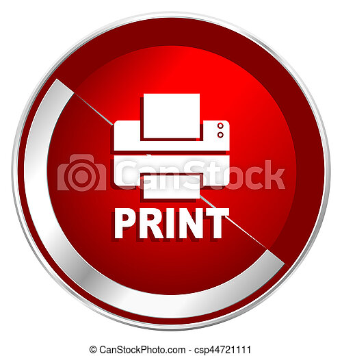Printer red web icon. Metal shine silver chrome border round button isolated on white background. Circle modern design abstract sign for smartphone applications. - csp44721111
