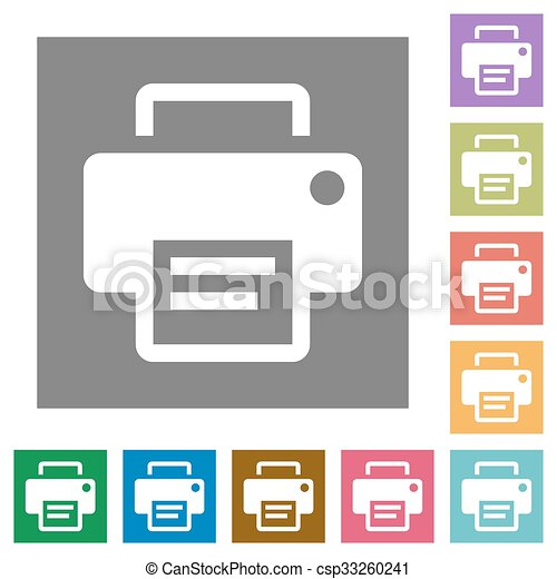 Printer square flat icons - csp33260241