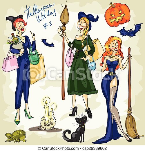 PrintHalloween Witches - 1. Hand drawn collection - csp29339662