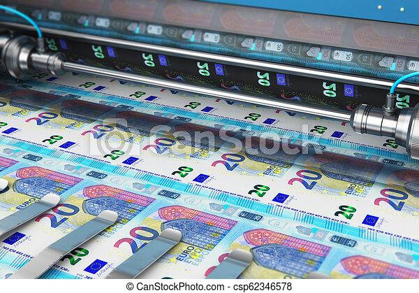 Printing 20 Euro money banknotes - csp62346578